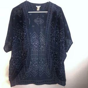 Forever21 Navy Blue Paisley Kimono, size M